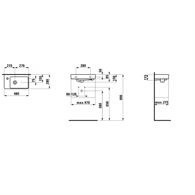 LAUFEN PRO S 48x28 ľavé