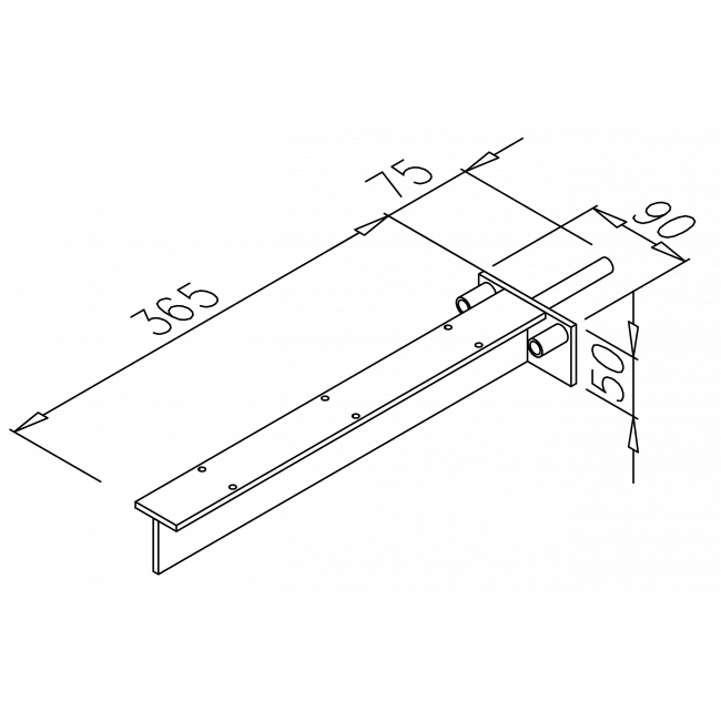 konzola Y, biela, 365x50x90, 1ks